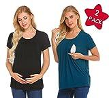 MAXMODA Women's Soft Maternity Nursing Breastfeeding Tops and Blouses Black+Peacock Blue 2 Packs M