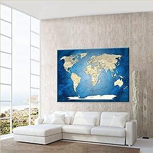 LanaKK – Mapamundi con Corcho para Fijar los destinos – Mapa del Mundo Océano Azul – Italiano – Lámina sobre Bastidor Camilla en Azul, Enmarcado en una Parte de 100 x 70 cm