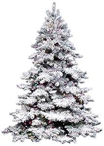 Vickerman Pre-Lit Flocked Alaskan Artificial Christmas Tree with Multicolored Dura Lights, 7.5'