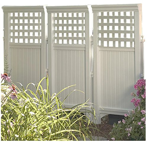 Made in usa white uv resistant 4 panel resin outdoor for Outdoor privacy screen white