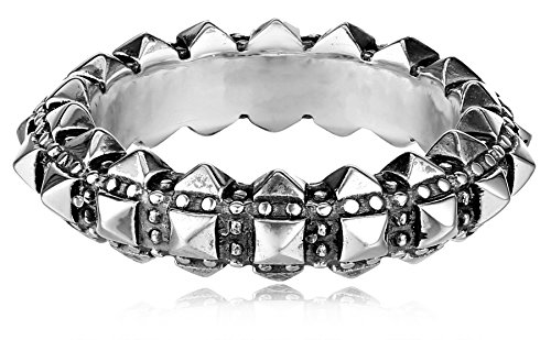 King Baby Men's Pyramid Studded Thin Band, Size 9