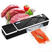 #LightningDeal Vacuum Sealer Machine, Aitsite Automatic Food Sealer for Food Savers/Food Scale|Led Indicator Lights|Easy to Clean|Dry & Moist Food Modes| Compact Design|Starter Kit (BLACK)