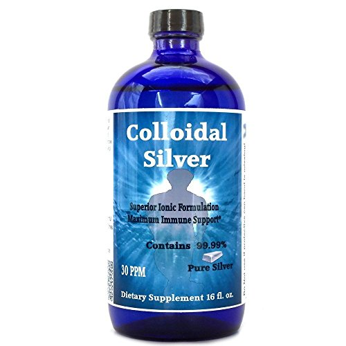 Superior Colloidal Silver 30PPM 16 fl oz Ionic Colloidal Silver Immune Support in a Non-leaching Glass Bottle