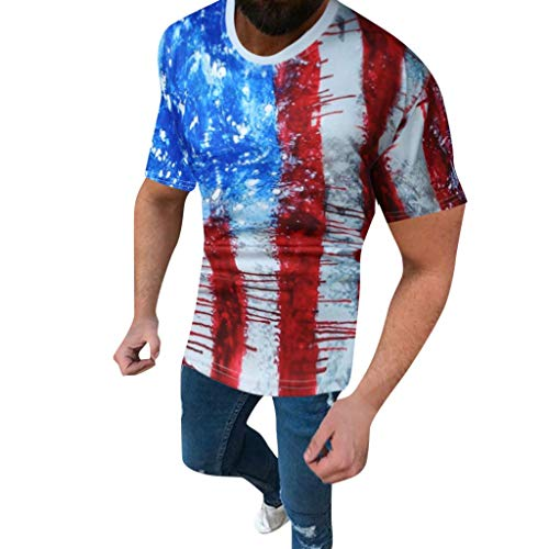 SFE Unique Personality Men 6D Retro Stripes Flag Print Short Sleeves Round Neck Blouse Shirt Tee Casual wear Working Blue]()