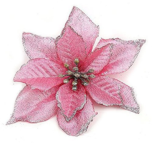 Zabrina 12 Pcs 5.11 in Christmas Tree Decorative Silk Flower Gold Poinsettia Bush and Red Poinsettia Bush Artificial Flowers Red Glitter Poinsettia Christmas Tree Ornaments (Pink) (And Christmas Silver Pink)
