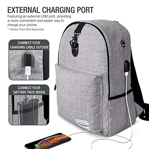 XDesign Travel Laptop Backpack with USB Charging Port +Anti-Theft Lock [Water Resistant] Slim Durable College School Computer Bookbag for Women, Men, Outdoor Camping&Fits Up to 16-inch Notebook -Grey by XDesign  (Image #4)