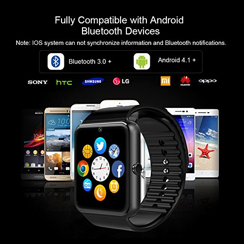 Smart Watch, culturesin GT08 Touch Screen Bluetooth del reloj con la máquina fotográfica/SIM Card Slot/Análisis podómetro/Sleep Seguimiento para ...