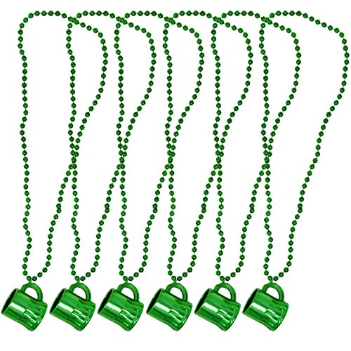 Gift Boutique Happy St. Patrick's Day Necklaces With Shot Glass 6 Pack Metallic Green Irish Beer Mug Cup Bead Necklace For Kids Women Men For Games & Costumes Party Favor Supplies Accessories ()