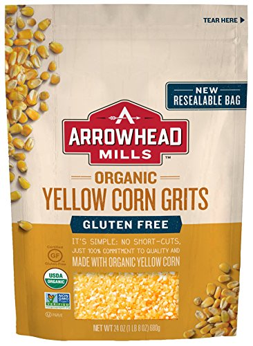 Arrowhead Mills Organic Gluten-Free Yellow Corn Grits, 24 oz. Bag (Pack of 6) ()