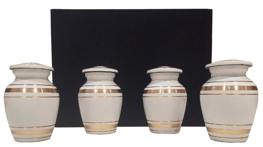 Mini Urns Set Of 4 By Eternal: Handcrafted Brass With Screw On Lids, Cremation Keepsake For Human And Pet Ashes, Peace And Comfort With Elegant Design