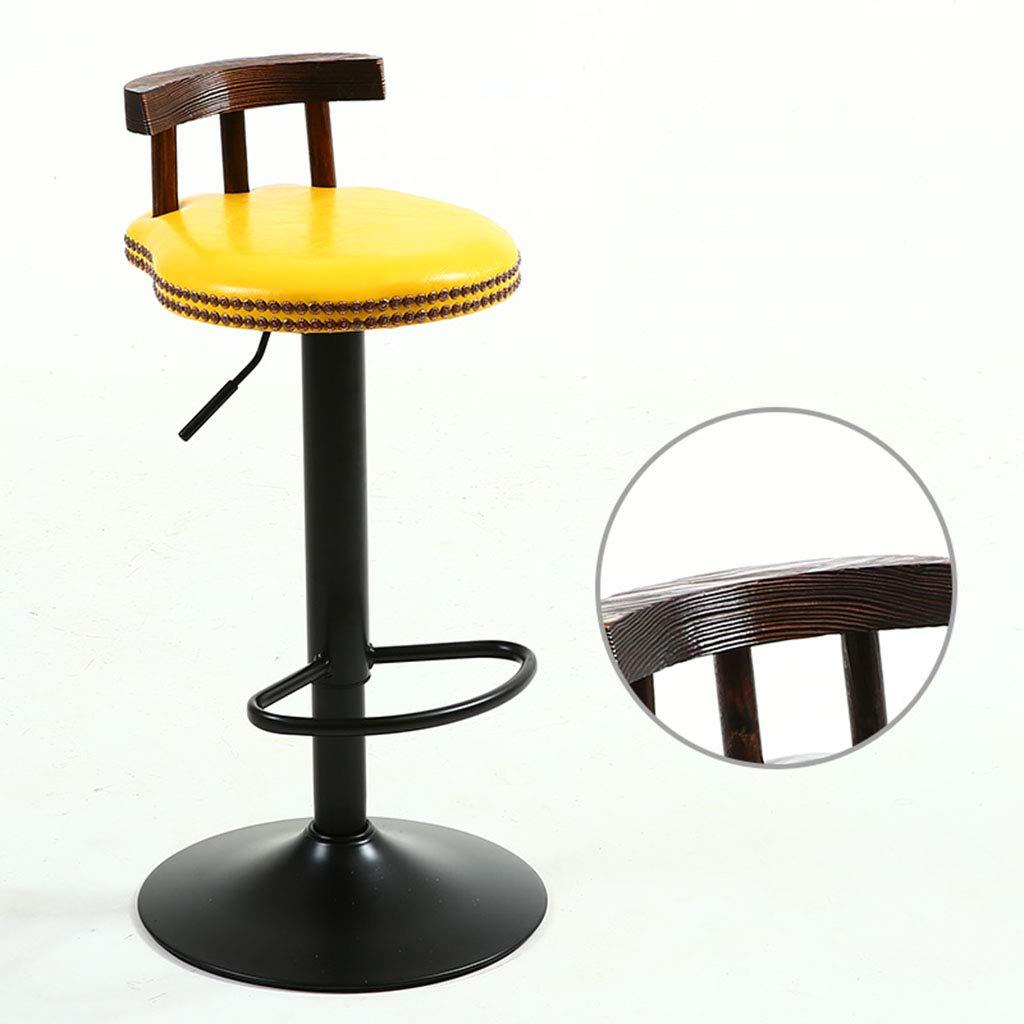 Sgabelli da Bar in Metallo Stile Industriale Cucina retr/ò Vintage Rotondo Regolabile in Altezza Sedia 60~80 Centimetri,Brown