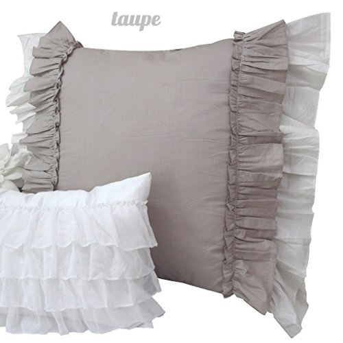 Queen's House Vintage Ruffled Euro Shams Set of 2-A (Gray Bedding Taupe And)