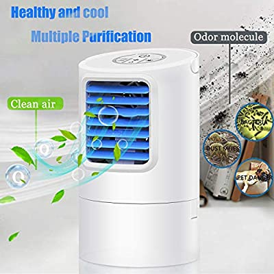 GREATSSLY Portable Air Conditioner Fan, Mini Personal Evaporative Air Cooler Small Desktop Cooling Fan with 7 Colors LED Lights, Super Quiet Personal Table Fan Mini Evaporative Air Circulator Cooler