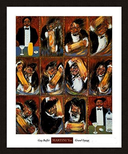Martini Yes' Bar Restaurant Server Drink art Framed Print - Guy Buffet