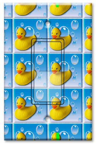 Printed Single-pole Decora Rocker Switch with matching Wall Plate - Rubber Duckies (Duckie Rocker)