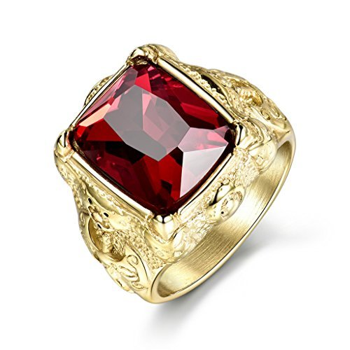 MASOP Gold Tone Mens Titunium Steel Rings with Big Rectangle Red Stone Fashion Party Jewelry Ring Size 10