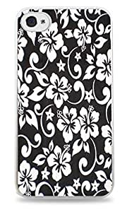 iphone covers New Fashion Case Black & White Floral Print White Hardshell case cover for iPhone 5c / AAJDdcAZqVB 4S