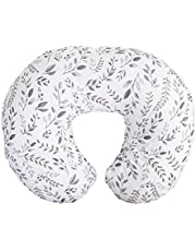 Nursing Pillow and Positioner—Original   Gray Taupe Watercolor Leaves   Breastfeeding, Bottle Feeding, Baby Support   with Removable Cotton Blend Cover   Awake-Time Support
