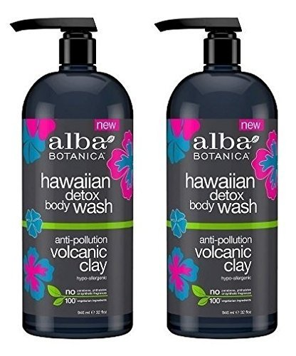 Hawaiian Detox Body Wash (Pack of 2) With Volcanic Clay, Aloe Juice, Orange, Coconut, Flower Extracts and Charcoal Powder, 32 fl. oz. Each ...