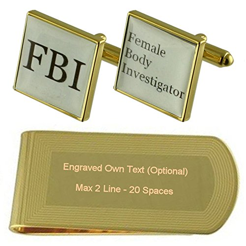 Clip FBI Money Fun Engraved Gold Set Gift tone Cufflinks XSqaTSw