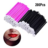 200 Pcs Disposable Lip Brushes, QMAY Lipstick Gloss Wands MakeUp Lip Brush, Lip Gloss Applicators Makeup Brushes Tool Kits(Pink + Black)
