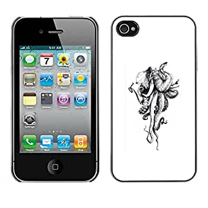 Paccase / SLIM PC / Aliminium Casa Carcasa Funda Case Cover - Octopus Monster Sketch White - Apple Iphone 4 / 4S