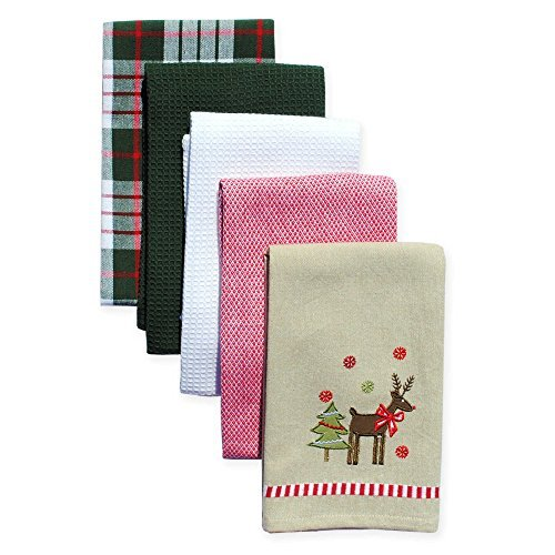Holiday Reindeer 5-Pack Kitchen Towels