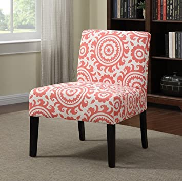 Merveilleux Niles Modern Orange Pink Coral Medallion Armless Accent Chair For Bedroom  Or Living Room