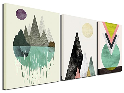 Gardenia Art - Abstract Mountain in Daytime Canvas Prints Wall Art Paintings Abstract Geometry Wall Artworks Pictures for Living Room Bedroom Decoration, 16x12 inch/Piece, 3 Panels