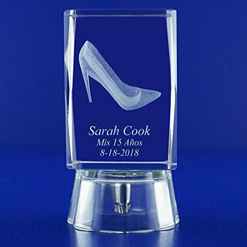 12 pcs Personalized Custom Laser Etched Engraving 3D Cinderella High Heels Crystal Glass for Quinceañera Mis XV Años Mis Quince Años Mis 15 Años Sweet 16 & Sweet 15 Favors (3