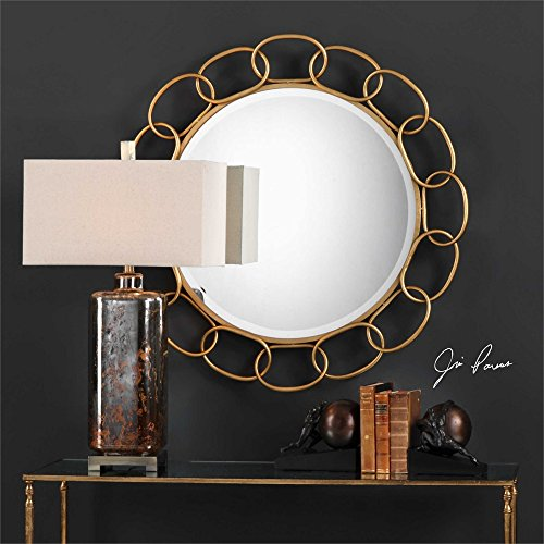 Gold Iron Chain Link Round Wall Mirror Large