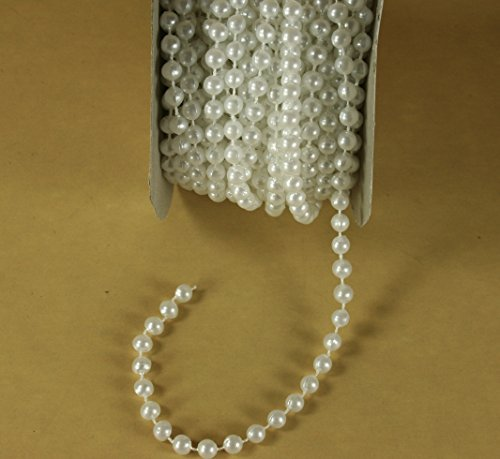 (Dreampartycreation 6mm Faux Pearl Plastic Beads on a String Craft 12 Yards Roll)