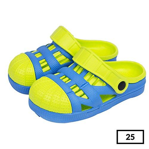 Sabot zoccoli slip on ciabatte in materiale EVA per bambini, taglia 25, colore: azzurro / lime