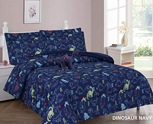 6 Piece Twin Size Kids Boys Teens Comforter Set Bed in Bag w/Sham, Sheet Set and Decorative Toy Pillow, Dinosaur Print Blue Boys Comforter Bedding Set w/Sheets, Twin 6pc Dinosaur Navy