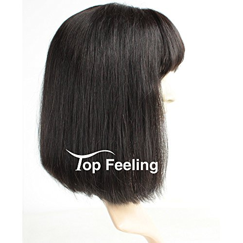 Brazilian Short Lace Front Wigs Human Hair Bob Wigs for Black Women Natural Color Silky Straight Hair Wigs with Bangs TopFeeling by Top Feeling (Image #2)