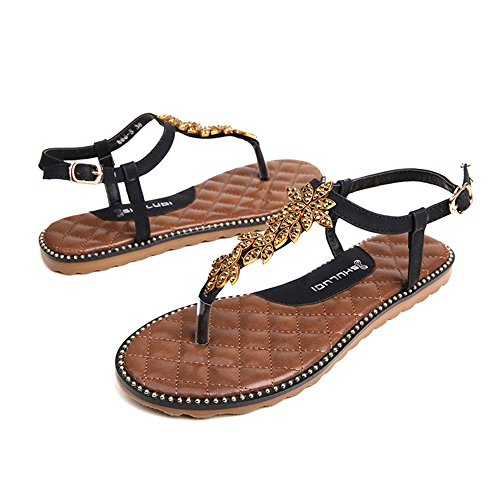 Sandals Amazing Beach Shoes Female Clip Toe Flat Summer With Diamond Shoes (Color : B, Size : EU37/UK4.5-5/CN37) B