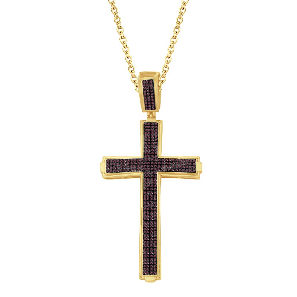 DTJEWELS 1.34 Ct Round Simulated Diamond Prong Set Cross Pendant 18 Chain 14K Yellow Gold Plated 925