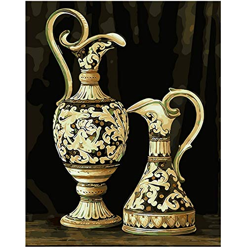 Canvas Wall Art European Porcelain China Bottles Oil Painting Picture by Numbers Module Picture Coloring by Hand Unique Gift for Home Decoration