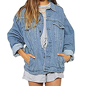Clearance Sale! Wintialy Women Autumn Winter Denim Jacket Vintage Long Sleeve Loose Jeans Coat