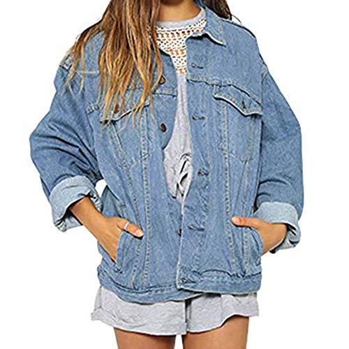 Bcfuda Denim Manica Allentati Giacche Donna Inverno Cappotti Cielo giacche Jeans Donna Vintage Outwear Per Di Autunno Lunga Blu 0BX0rO