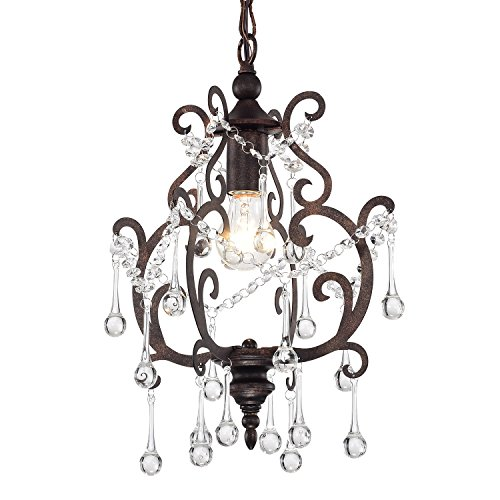 1-Light Antique Copper Chandelier with Raindrop Crystals