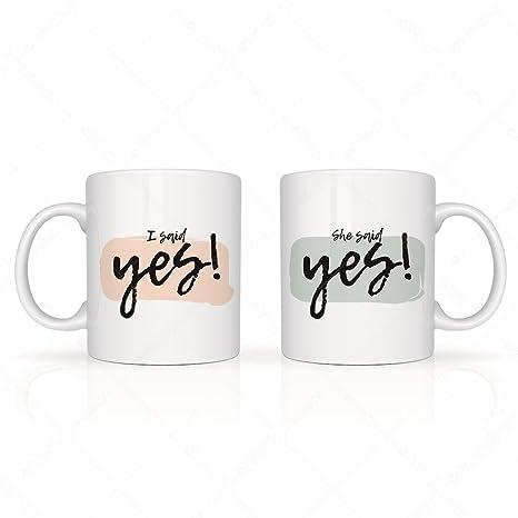 i said she said yes mug set mugs for couplespair mugcoffee