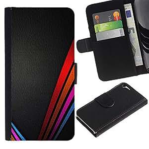 Be Good Phone Accessory // Caso del tirón Billetera de Cuero Titular de la tarjeta Carcasa Funda de Protección para Apple Iphone 5 / 5S // lines clean vibrant colors leather black