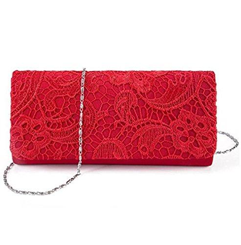 Chica Bolsa de Bolso Rojo Cadena Floral Baglamor de Noche Bolso Bolso de de Embrague Boda dwXnzx