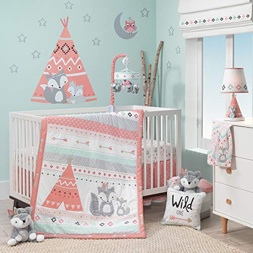 (Lambs & Ivy Little Spirit 3-Piece Crib Bedding Set - Blue, Gray, White, Coral)