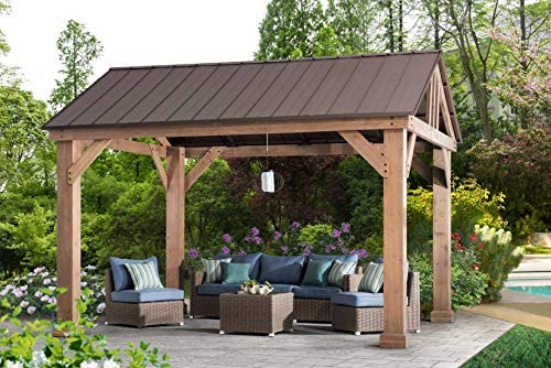 Sunjoy L-GZ1171PWD-B Hudson Cedar Wood Pavilion with Hardtop, Gazebo, 14 x12 , Natural Brown