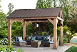 Sunjoy L-GZ1171PWD-B Hudson Cedar Wood Pavilion with Hardtop, Gazebo, 14'x12', Natural/Brown