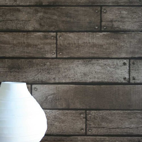Wooden Planks Wood Panel Effect Faux Wallpaper Brown Colour Sample
