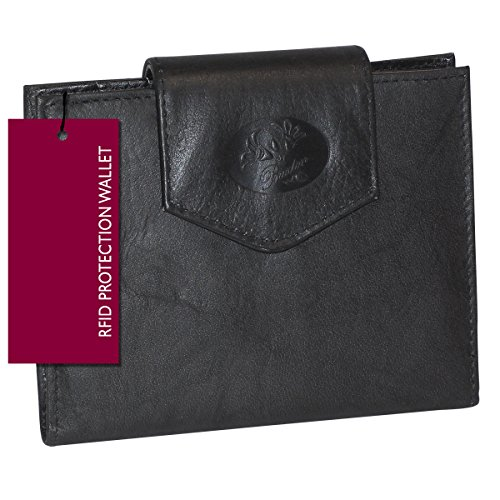 Buxton Leather Cardex Attache Clutch Credit Card Wallet (Black-RFID (Leather Framed Clutch Wallet)