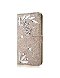 Funyye 3D Bling Flower Diamond Wallet Leather Case for Samsung Galaxy A6 Plus 2018,Gold Premium Glitter Crystal Shiny Rhinestone PU Leather Protective Cover Case,Multifunctional Magnetic Flip with Stand Credit Card Holder Slots Case for Samsung Galaxy A6 Plus 2018 + 1 x Free Screen Protector